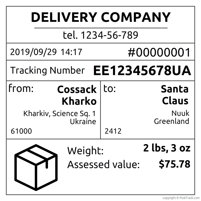 Example of a postal receipt with a tracking number